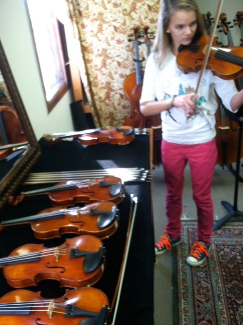 We went in to purchase a 3/4 size but realized, Gigi is now a full violin player!