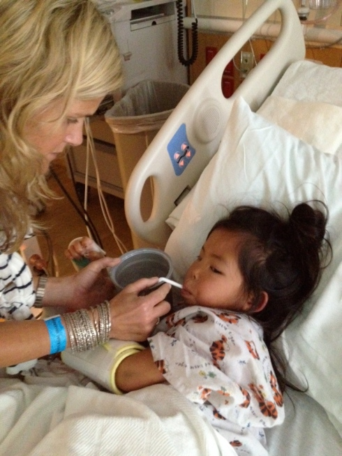 """the team of doctors met with us again.  We do not have answers but we know that God is with us.  He is sustaining us and Lainee knows God loves her.  She was talking today, little sentences, """"i wish i was at my house""""...She was allowed to drink water today and have a little chicken broth"""