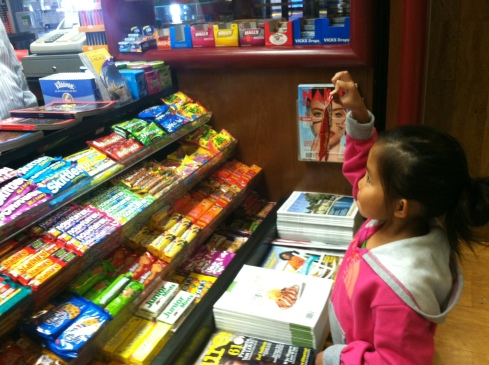 "It was a very quick stop lego, I carried her most of the way and made sure she had a bag of candy...here she is telling the man, ""the doctor said I have to eat candy...""  :)  do you think he believed her??"