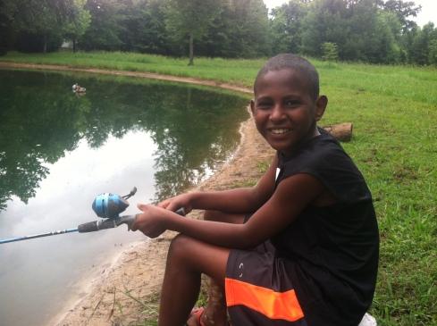 luke fishing at grandpa and grandma's tennessee pond