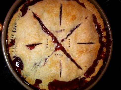 a pie I made out of raspberries that zinnia and luke picked outside around our lake house