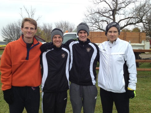 JOnah and Christopher with their cross country coaches, Chris Filinski and Olympian runner Jim Spivey.