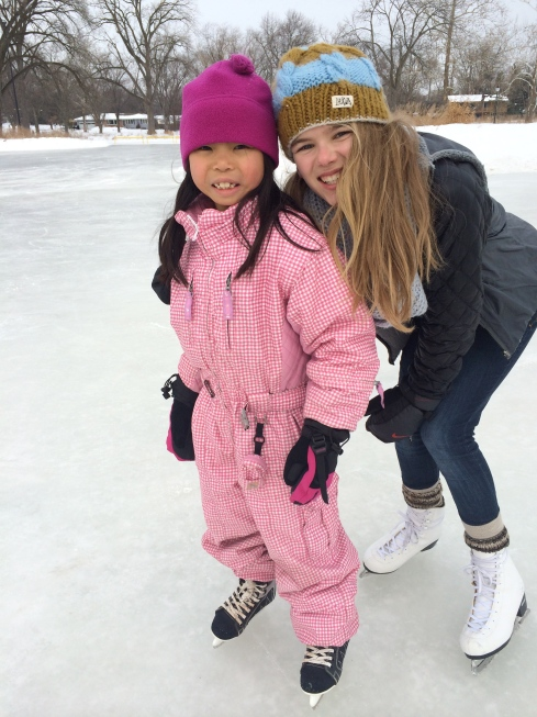 We have had record cold temps here.  The girls have been so excited to go to the lake to skate but its just been too cold! Lainee and Gigi